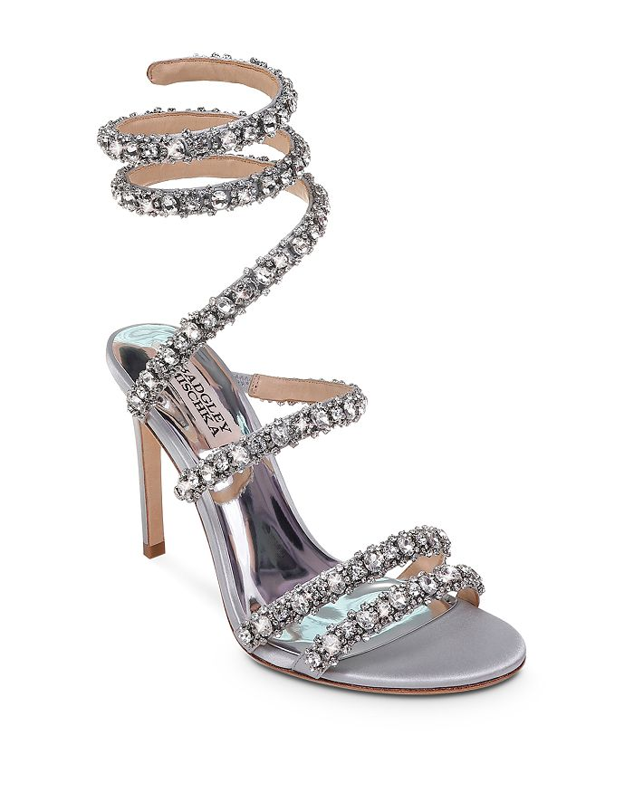 7b585d7e96a Badgley Mischka - Women s Peace Embellished Satin Ankle Wrap High-Heel  Sandals