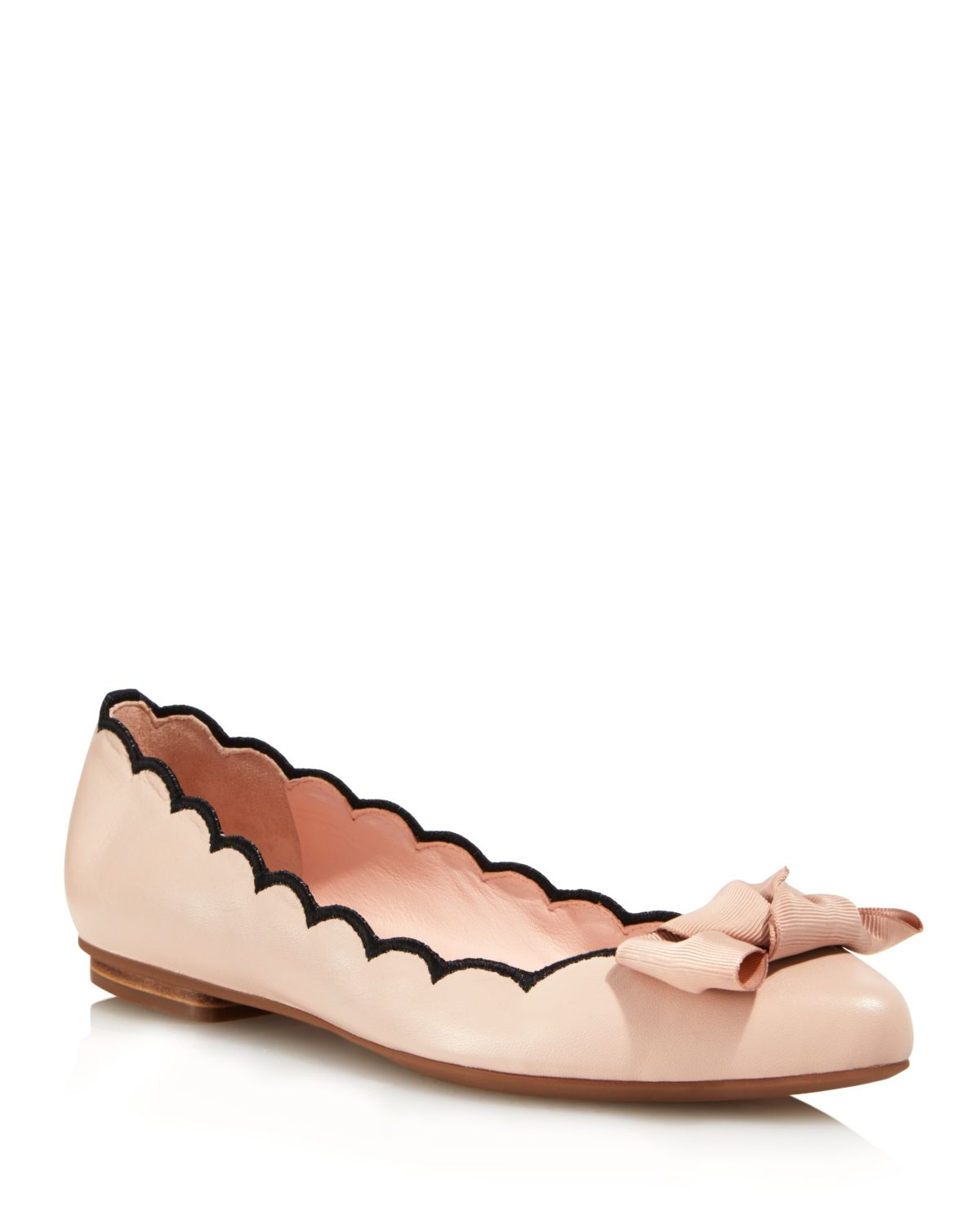 Kate Spade New York Women's Nannete Scalloped Leather Pointed Toe Flats