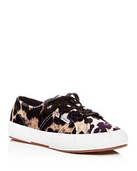 Superga - Women's Leopard Print Velvet Classic Lace Up Sneakers
