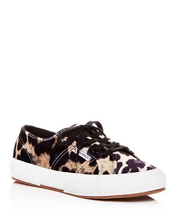 Superga - Women's Leopard Print Velvet Classic Lace Up Sneakers