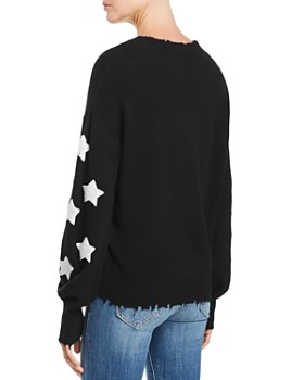 AQUA - Star-Sleeve Distressed Cashmere Sweater - 100% Exclusive