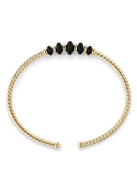 David Yurman - Rio Rondelle Cabled Cuff Bracelet with Black Onyx in 18K Gold