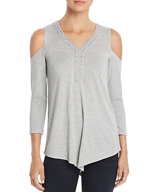 Design History Studded Cold-Shoulder Top