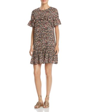 ALISON ANDREWS MICRO FLORAL RUFFLE DRESS