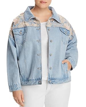 New Glamorous Curvy Embellished Denim Jacket, Light Stonewash