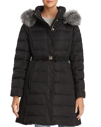 kate spade new york - Belted Faux Fur Trim Puffer Coat