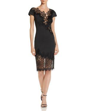 TADASHI PETITES Tadashi Shoji Petites Lace-Inset Neoprene Dress - 100% Exclusive in Black