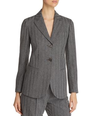 TWO-BUTTON METALLIC STRIPE BLAZER