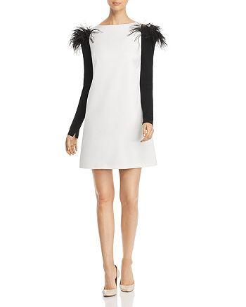 PAULE KA - Feather Detail Cold-Shoulder Mini Dress