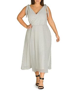 City Chic Plus Alika Polka-Dot Crossover V-Neck Midi Dress
