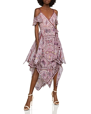 Bcbgmaxazria Cold-Shoulder Festival Paisley Wrap Dress
