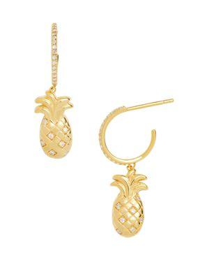 Ananas Hoop & Pineapple Drop Earrings, Gold