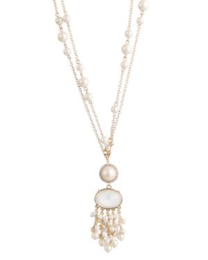 "CAROLEE GOLD-TONE CRYSTAL & IMITATION PEARL 18""/36"" DOUBLE-ROW PENDANT NECKLACE"