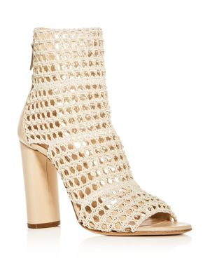 WOMEN'S OSAKA OPEN WEAVE OPEN TOE HIGH-HEEL BOOTIES