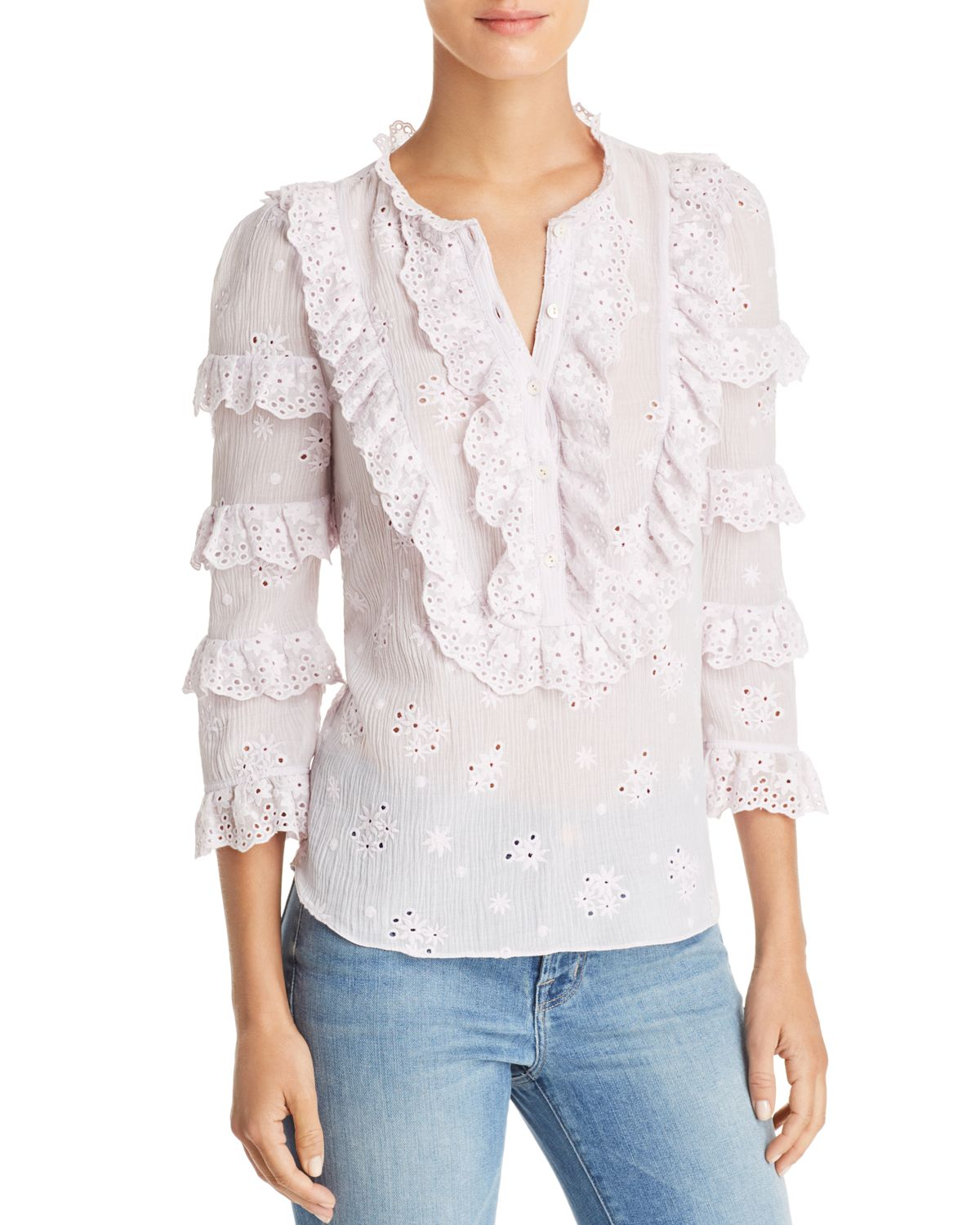 Dree Ruffled Eyelet Shirt by Rebecca Taylor