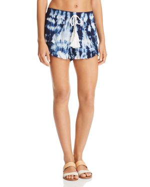 SURF GYPSY TIE-DYED TASSEL SWIM COVER-UP SHORTS