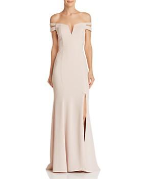AQUA - Off-the-Shoulder Double-Strap Gown - 100% Exclusive