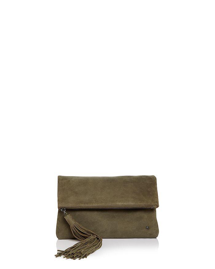 HALSTON HERITAGE - Christie Foldover Nubuck Leather Clutch