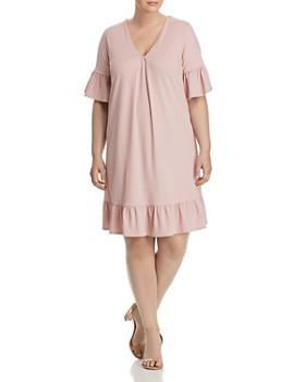 Lost Ink Plus - Ribbed Flutter Dress