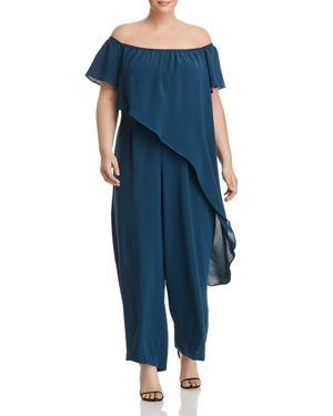 Adrianna Papell Plus Off-the-Shoulder Overlay Jumpsuit