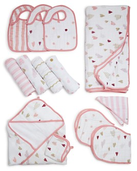 Aden and Anais - Heart Breaker Swaddles, Bibs, Hooded Towel & Blanket