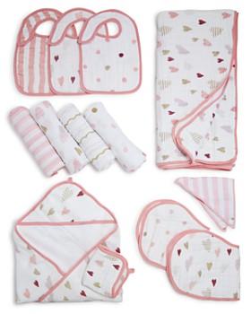 Aden and Anais - Heart Breaker Swaddles, Bibs, Hooded Towel & Blanket