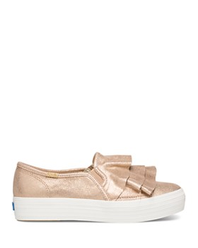 Keds - Women's Triple Ruffle Metallic Suede Slip-On Sneakers