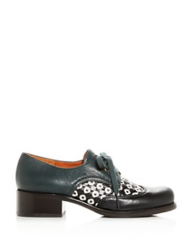 Chie Mihara - Women's Tina Woven Leather Block-Heel Oxfords