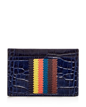 Paul Smith - Woven Stripe Croc Embossed Leather Card Case