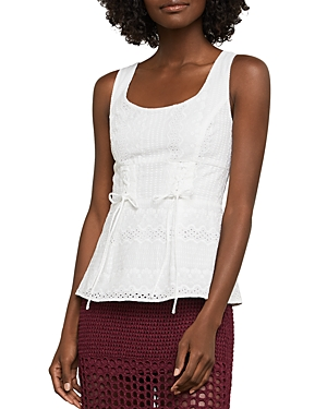 Bcbgmaxazria Lace-Up Eyelet Peplum Top