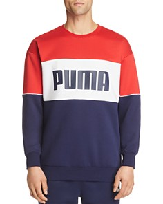PUMA - Retro Color-Block Logo-Print Sweatshirt