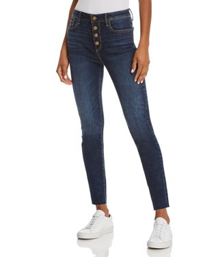 BUTTON FLY SKINNY JEANS IN DARK WASH - 100% EXCLUSIVE