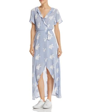 LOST AND WANDER IRIS EMBROIDERED WRAP MAXI DRESS