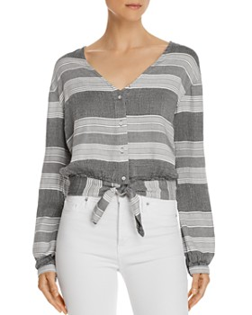 Bella Dahl - Tie-Front Striped Cropped Top