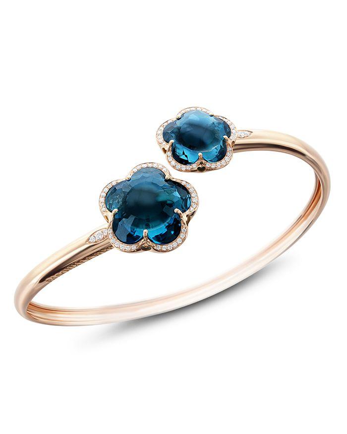 Pasquale Bruni - 18K Rose Gold Bon Ton London Blue Topaz & Diamond Floral Bangle