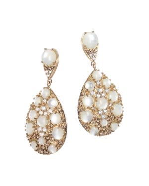 PASQUALE BRUNI 18K ROSE GOLD CHAMPAGNE DIAMOND, CHAMPAGNE DIAMOND & MOTHER OF PEARL DROP EARRINGS