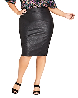 City Chic Plus Truth Faux-Leather Pencil Skirt
