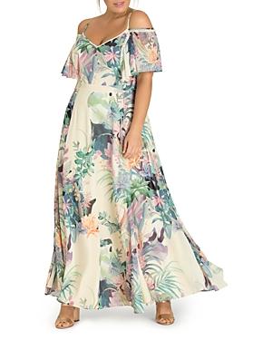 City Chic Plus Jungle Print Cold-Shoulder Maxi Dress