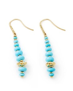 David Yurman - Rio Rondelle Drop Earrings with Turquoise in 18K Gold