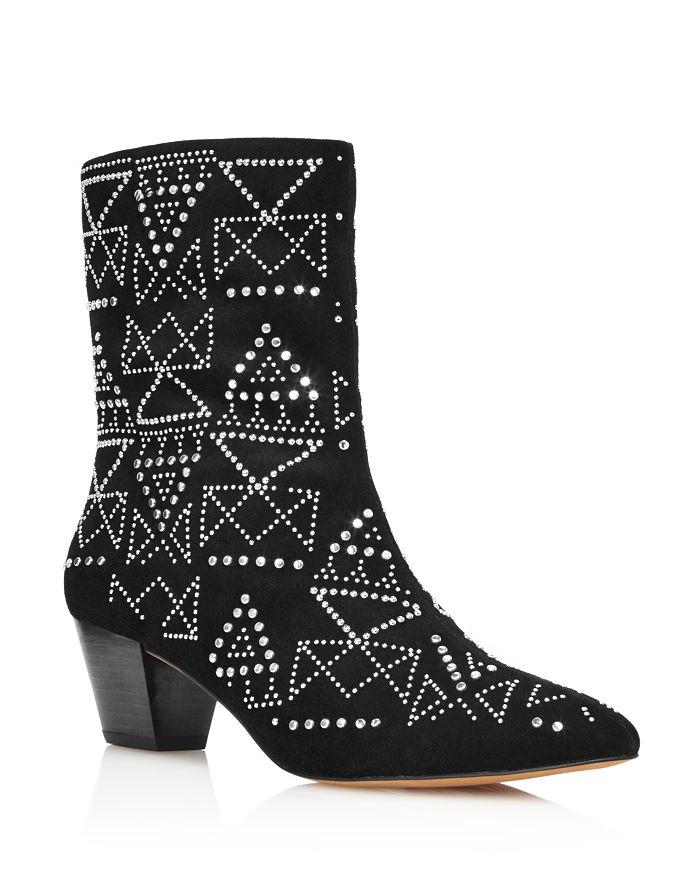 Rebecca Minkoff Women s Hessania Studded Suede Mid-Heel Booties ... 278e90b9bc
