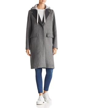 Kendall + Kylie - Sweatshirt Hood Chalk Striped Coat