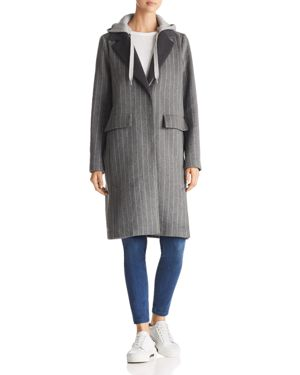 Kendall and Kylie Sweatshirt Hood Chalk Striped Coat