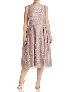 Adrianna Papell Plus - Pleated Lace Midi Dress