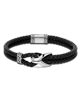 JOHN HARDY - Sterling Silver Classic Chain Cord Bracelet with Black Leather