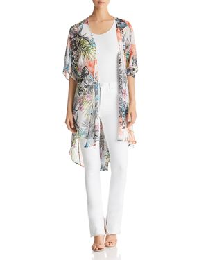 STATUS BY CHENAULT Status By Chenault Floral-Print Duster Kimono in White/Coral