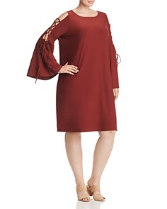 Love Scarlett Plus - Lace-Up Bell-Sleeve Dress - 100% Exclusive