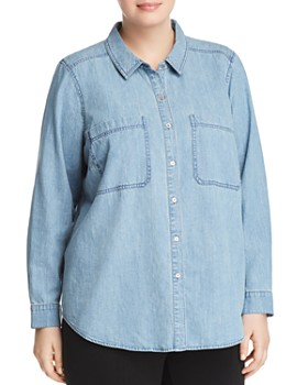 Eileen Fisher Plus - Chambray Button-Down Top