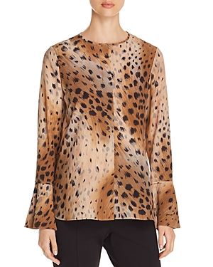 d4238d081f709 Lafayette 148 New York Izzie Silk Cheetah-Print Blouse