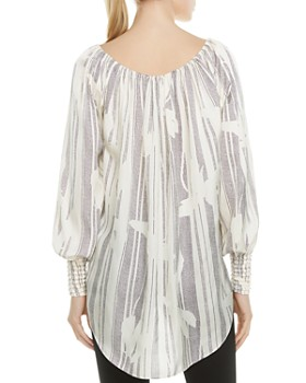 HALSTON HERITAGE - Off-the-Shoulder Printed Tunic