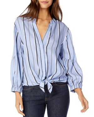 MICHAEL STARS Stripe Shirting Tie Front Cotton Blouse in Stream